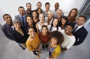 High angle shot of a diverse group of business professionals